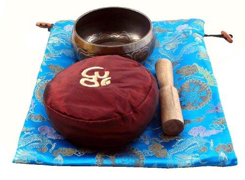 Singing Bowl Blue Bag Red Cushion Gift Set