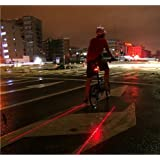 Wealers Cycling Bicycle Bike Rear Tail Safety Warning 5 Led+ 2 Laser Flashing Light (battery's Included)