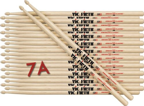 12 Pairs Of Vic Firth 7A Wood Tip American Classic Hickory Drumsticks
