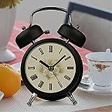 ZQY retro clock mute metallic alarm clocks creativity individuality alarm luminous double Bell a small alarm clock M