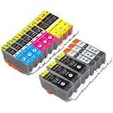 YoYoInk Compatible Ink Cartridges Replacement for Canon PGI 225 & CLI 226 (3 Big Black, 3 Small Black, 3 Cyan, 3 Magenta, 3 Yellow, 15-Pack) - With Ink Level Display Indicator