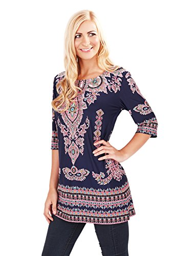 Womens Paisley Tunic Top Navy Blue Summer Blouse Ladies Clothing T Shirt Size UK 8-10