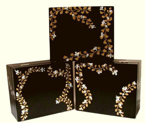 Black Tea Box  Swarovski Crystals Flowered Vines,