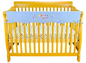 Trend Lab Fleece NASCAR CribWrap Wide Rail Cover for Crib Front or Back, Blue