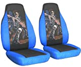 "2 Medium blue and Black ""Hot Guitar"" seat covers for a 2011 Chevy Cruze. Side airbag friendly."