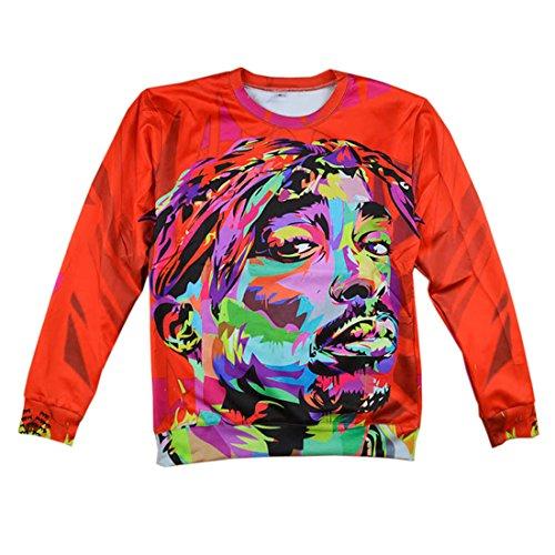 Women Men Pullovers Red 2Pac Tupac Shakur Hoodie 3D Hipster Sweatshirts (Red, Large)