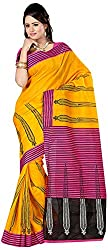 Shree Creation Women's Art Silk Saree with Blouse Piece (Yellow)