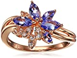 10k Pink Gold Tanzanite and Created White Sapphire Flower Ring, Size 7