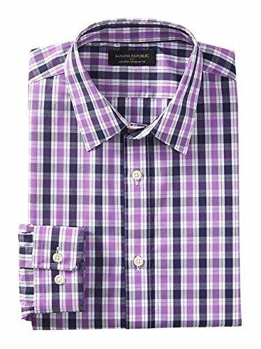 banana-republic-mens-non-iron-standard-fit-button-down-shirt-small-purple-plaid