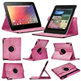 Stuff4 MR-NX7-L360-PAT-DMND-PK-STY-SP Diamond Designed Leather Smart Case with 360 Degree Rotating Swivel Action and Free Screen Protector/Stylus Touch Pen for 7 inch Google Nexus 7 - Pink