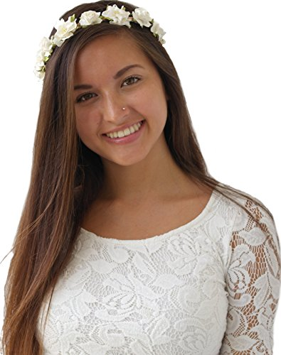 Floral Headband for Wedding Festivals Wreath Boho Garland (White)