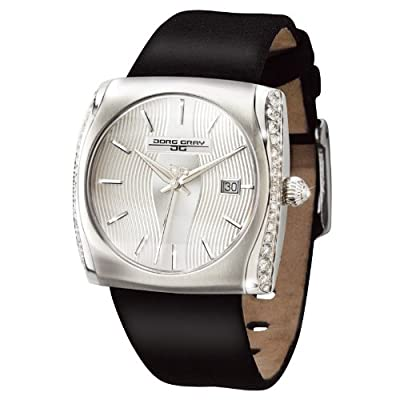 Jorg Gray JG2300-12 - Lady's Watch, Swiss Mvt, 0.39cttw Genuine Diamonds Set on Case, Date Display, Leather Straps