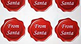 60 Christmas From Santa wax seal white on red envelope seal stickers