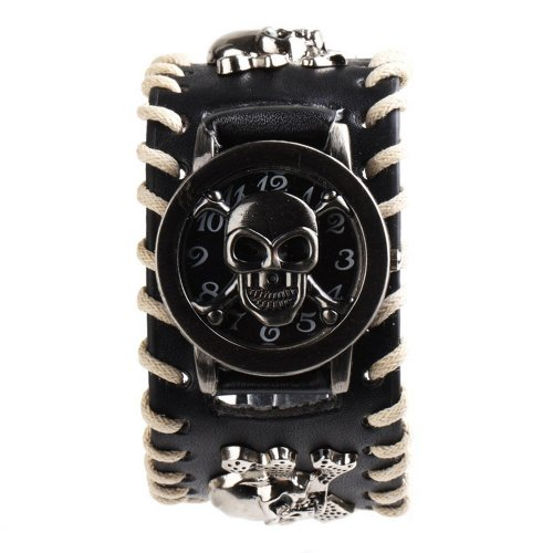 Yesurprise Punk Rock Pirate Skull Skeleton Leather Band Women Men Unisex Bracelet Cool Wrist Watch - Amazon UK