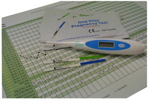 Digital Fahrenheit Basal Ovulation Body Temperature Thermometer reads to 2 decimal places + 10 x 20 mIU Ovulation + 10 x 10 mIU Pregnancy tests + fertility plan chart