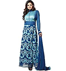Shreenathji Enterprise Blue Georgette Dress Materials (H116_blue_Free size)