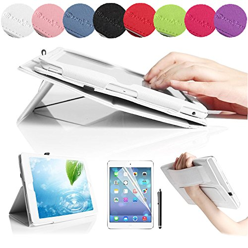 Boriyuan Stylish iPad 5 Case, Ultra Slim Lightweight Portable Protective Flip Folio Folding PU Leather Case Carrying Cover for Apple iPad Air 5 5th Generation Tablet, with Elastic Hand Strap and Credit ID Card Slot Stylus Holder Multi-angle Stand Feature - Free with a Touch Stylus Pen and a Screen Protector (White)