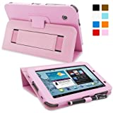 Snugg Galaxy Tab 2 7.0 Leather Case in Candy Pink - Flip Stand Cover with Elastic Strap and Premium Nubuck Fibre Interior for Samsung Galaxy Tab 2 7.0