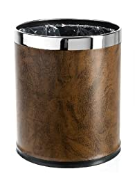 Brelso \'Invisi-overlap\' open top Leatherette Trash Can, Small Office Wastebasket, Modern Home Décor, Round Shape (Brown)
