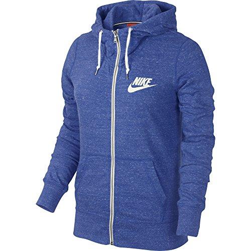 Nike Womens Gym Vintage Full Zip Hoodie Sweatshirt Blue Extra Small