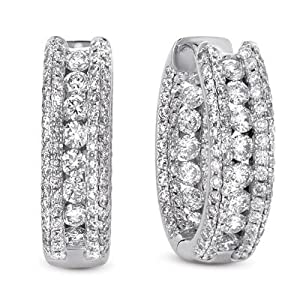 14k 2.96 Dwt Diamond White Gold Earrings - JewelryWeb