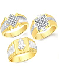 VK Jewels Gold And Rhodium Plated Alloy Ring Combo For Men - COMBO1433G [VKCOMBO1433G]