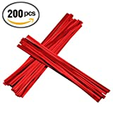 200pcs 4'' Metallic Twist Ties (Red)