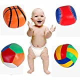 """Set Of 4 """"PIGLOO"""" Brand Colorful Soft Mini Sports Ball Stuffed Toys - Includes Football + Basketball + Volleyball..."""
