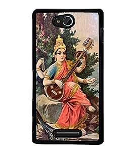 Maa Saraswati 2D Hard Polycarbonate Designer Back Case Cover for Sony Xperia C :: Sony Xperia C HSPA+ C2305
