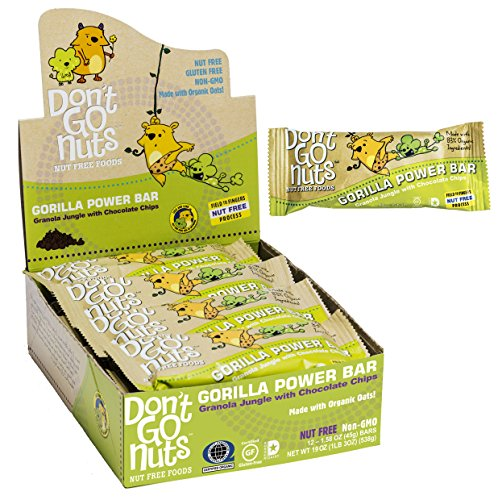 Don't Go Nuts Nut-Free Organic Snack Bars, Gorilla Power, Chocolate Chip Granola, 1.58 Ounce Bars, 12 Count (Gmo Free Rice Cereal compare prices)
