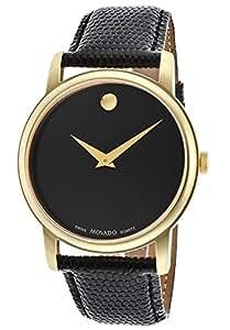 Movado Men's Museum 2100005 Black Leather Swiss Quartz Watch with Black Dial