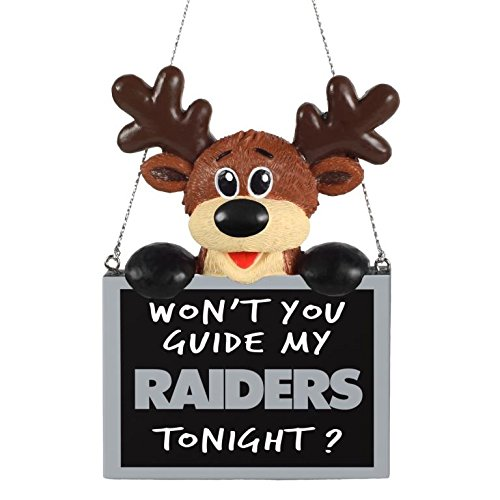 NFL Reindeer With Sign Tree Ornament Oakland Raiders