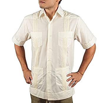 Basic Traditional Cotton Blend guayabera color ivory.
