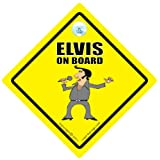 ELVIS ON BOARD Car Sign, Baby on Board Sign Style, Novelty Elvis Presley Sign, Funny Elvis Bumper Sticker, FREE UK Postageby iwnatthatsign.com