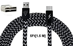 Parallel Universe Nylon Braided Tangle free [1.5 meter extra long] [2.4 Amp Fast charging] micro USB cable
