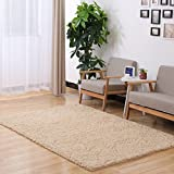 ONEONEY Home Decorator Modern Shag Area Rugs Super Soft Solid Living Room Carpet Bedroom Washable Rug and Carpets-(Camel,0.8x1.6M)