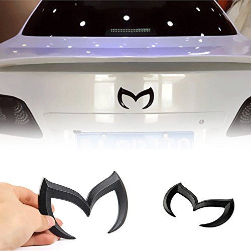 Valuetom Black Metal Car Emblem Badge Self Adhesive M Letter Sticker Decal for Mazda Mazdaspeed 2 3 5 6 CX 3D Logo (Black Mazda 6 Emblem compare prices)