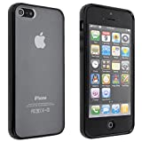 Black Hot Bumper Skin Case With Crystal Clear Back Cover for iPhone 5 5G