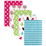 Luvable Friends 5 Count Flannel Receiving Blankets, Pink Birds and Trees