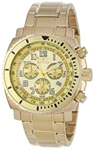 Invicta Men's 0619 II Collection Chronograph Gold Dial 18k Gold-Plated Stainl...
