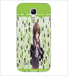 PrintDhaba Girl with Gun D-1343 Back Case Cover for SAMSUNG GALAXY S4 MINI (Multi-Coloured)