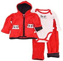 Duck Goose Baby-Girl Panda Sherpa Hooded Jacket Bodysuit Pants 3Pc Set 6-9MRed