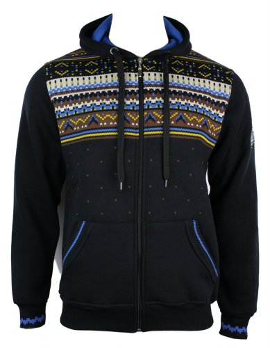 Mens Black Aztec Hooded Zipped Jumper Hoody Top Casual Blue Brown Print