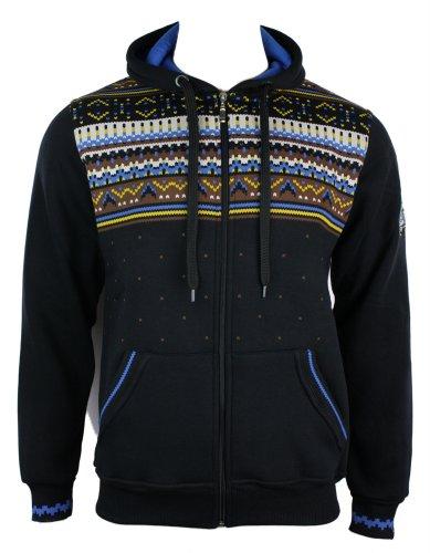 Mens Black Aztec Hooded Zipped Jumper Hoody Top Casual Blue Brown Print