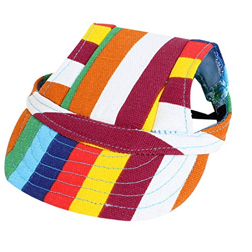 Elastic Chin Belt Pet Baseball Cap Visor Hat Assorted Color cute stripe style dog pet apparel 2 leg holes with hat backpacks color assorted size m