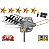 Outdoor Amplified HDTV/UHF/VHF Antenna w/ Remote Control - 360 Degree Motorized Rotation Kit - With Installation Kit