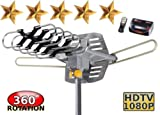 Supreme Amplified Outdoor Remote Controlled HDTV UHF VHF Antenna FM Radio 360 Degree Motorized Rotation Kit with 75ft RG6 and clips Works UP TO 2 TV's- PREMIUM FLAGSHIP MODEL!