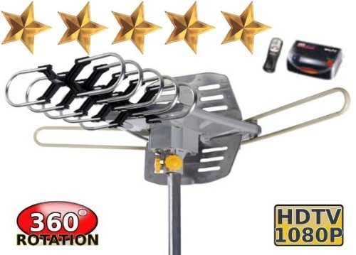 Read About Outdoor Amplified HDTV/UHF/VHF Antenna w/ Remote Control - 360 Degree Motorized Rotation ...