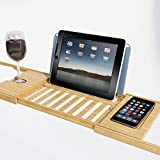 Luxury Bamboo Bathtub Caddy Tray with Extending Sides -Perfect for Any Tub Jacuzzi or Hot Tub Design - Wood Bath Table Shelf Holds Tablet Book Phone and a Glass of Wine -US PATENT PENDING