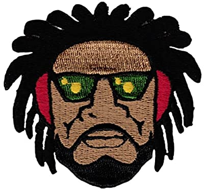 "[Single Count] Custom and Unique (3"" x 3"" Inches) Rasta Rastafarian Jamaican Guy w/ Beard Shades & Dreadlocks Iron On Embroidered Applique Patch {Brown, Black, Red, Green & Yellow Colors}"